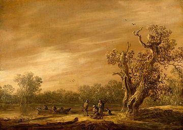 Fischer am Ufer eines Teiches, Jan van Goyen