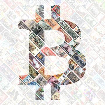 """Bitcoin over bills"" - Bitcoin art - Logo hinter alten, aufgehängten Banknoten von Roger VDB"