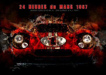 Ford GT40, Le Mans winnaar 1967 in de nacht... van Theodor Decker