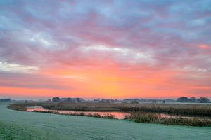 Zonsopkomst over de IJsseldelta bij Kampen in Overijssel