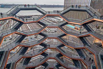 Vessel (herontwikkelingsproject van de werven van Hudson) in NYC bij zonsondergang met wolken in de  van Mohamed Abdelrazek