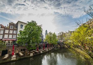 """""""Uitzicht over de Oude Gracht"""" en Dom in Utrecht"""