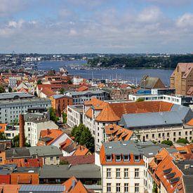 Uitzicht over de daken van de Hanzestad Rostock van Reiner Conrad