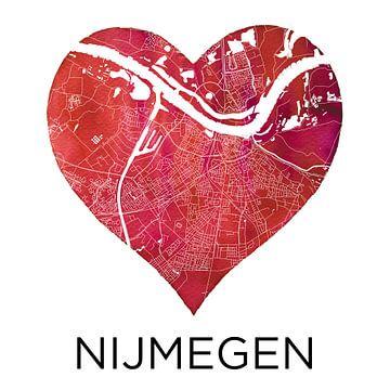 Liefde voor Nijmegen  |  Stadskaart in een hart van Wereldkaarten.Shop