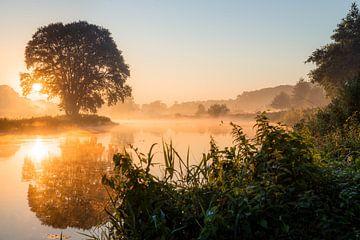 zonsopkomst Overijsselse Vecht (2:3) van Lolke Bergsma