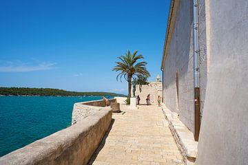 Point de vue en bordure de la vieille ville de Rab avec une vue sur la mer Adriatique bleue.