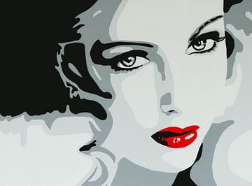 Lady with red lips popart van anja verbruggen
