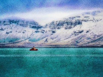 Petit bateau dans la baie de Reykjavik, Islande