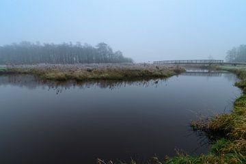 Brücke über die Drentsche Aa im Nebel von Andrea de Vries