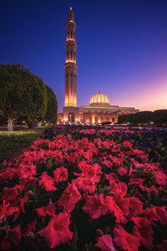 Sultan Qaboos Moschee zur blauen Stunde in Muskat von Jean Claude Castor
