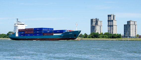 Containerschip op de Nieuwe Waterweg