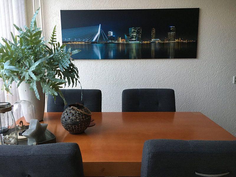 Klantfoto: Skyline Rotterdam Panorama van Joram Janssen, op canvas