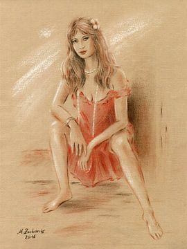 Frau im roten Kleid von Marita Zacharias