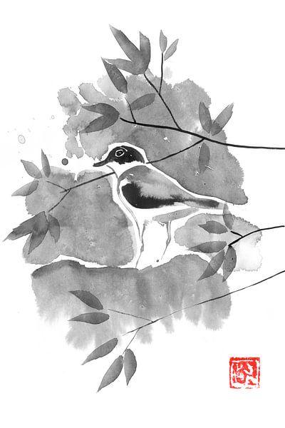 vogel in een boom van Péchane Sumie