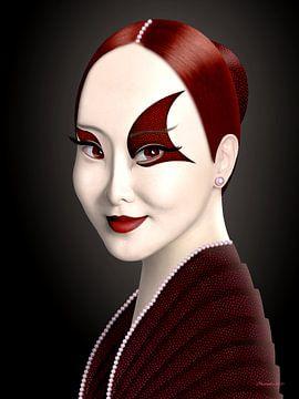 Dame In Rood (Alternatief) van Ton van Hummel (Alias HUVANTO)