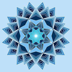 Blaues Mandala mit acht Punkten und drei Schichten in verschiedenen Blautönen