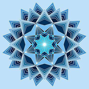 Blauwe mandala met acht punten en drie lagen in verschillende blauwe tinten van Andie Daleboudt
