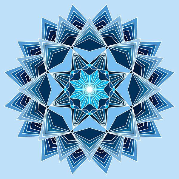 Blaues Mandala mit acht Punkten und drei Schichten in verschiedenen Blautönen von Andie Daleboudt