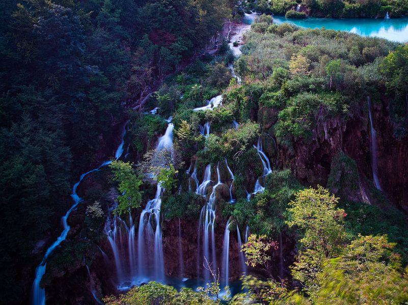 Watervallen bij Plitvi?ka Jezera van Jesse Meijers