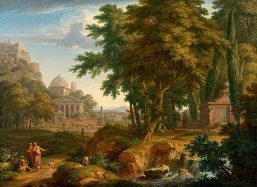 Paysage arcadien avec les saints Pierre et Jean guérissant l'homme miteux, Jan van Huysum