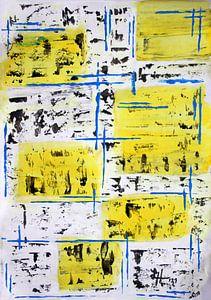 Blaues Gittergerüst auf schwarz-weißen und gelben Quadraten von elha-Art