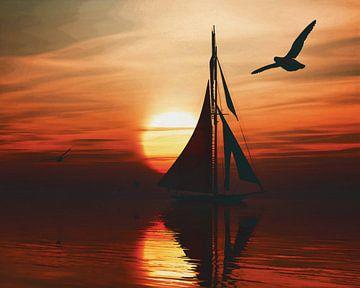 Zeilboot bij zonsondergang 1