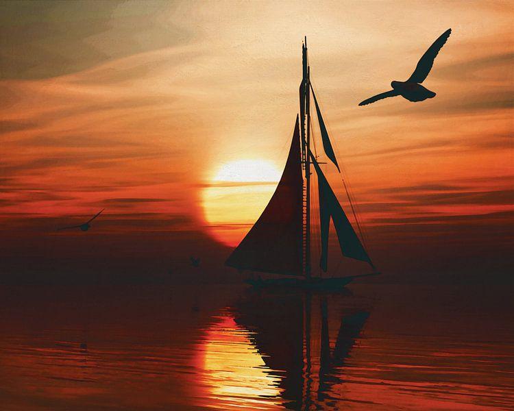 Zeilboot bij zonsondergang 1 van Jan Keteleer