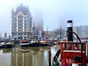 Rotterdam in de mist/ Foggy Rotterdam van Liesbeth Vollemans