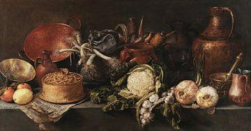 Stilleben mit Gemüse und Küchenutensilien, Antonio de Pereda