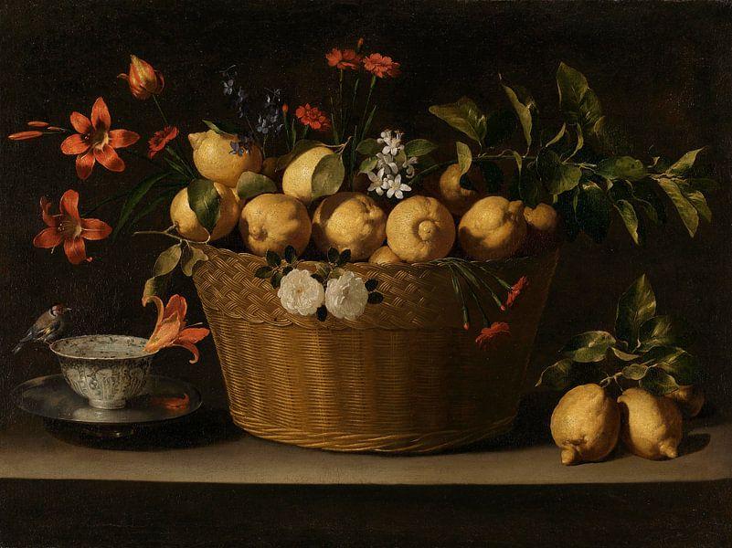 Stilleben mit Zitronen in einem Weidenkorb, Juan de Zurbarán von Meesterlijcke Meesters