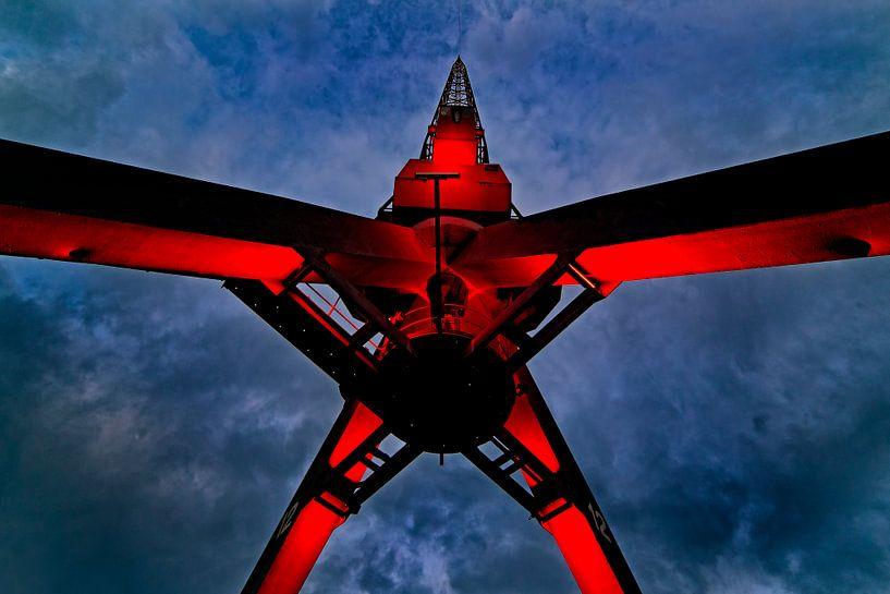 Verlichte kraan Rotterdam van Anton de Zeeuw