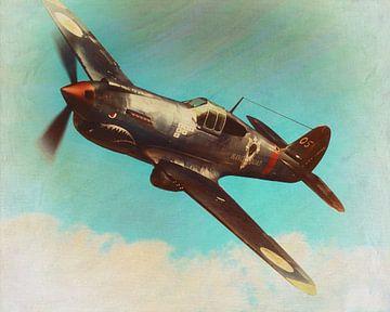 Peinture de style rétro d'un avion Curtis Wright P-40K de 1940 sur Jan Keteleer
