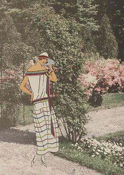 Dame in de tuin van Irene Hoekstra