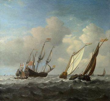 Een Nederlands schip, een jacht en kleinere schepen in een briesje, Willem van de Velde