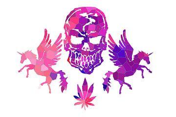 Roze doodshoofden en eenhoorns van ZeichenbloQ