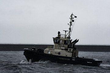 Der Schlepper pflügt durch Sturm und Regen IJmuiden. von scheepskijkerhavenfotografie