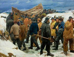 Das Rettungsboot wird durch die Dünen gebracht, Michael Ancher