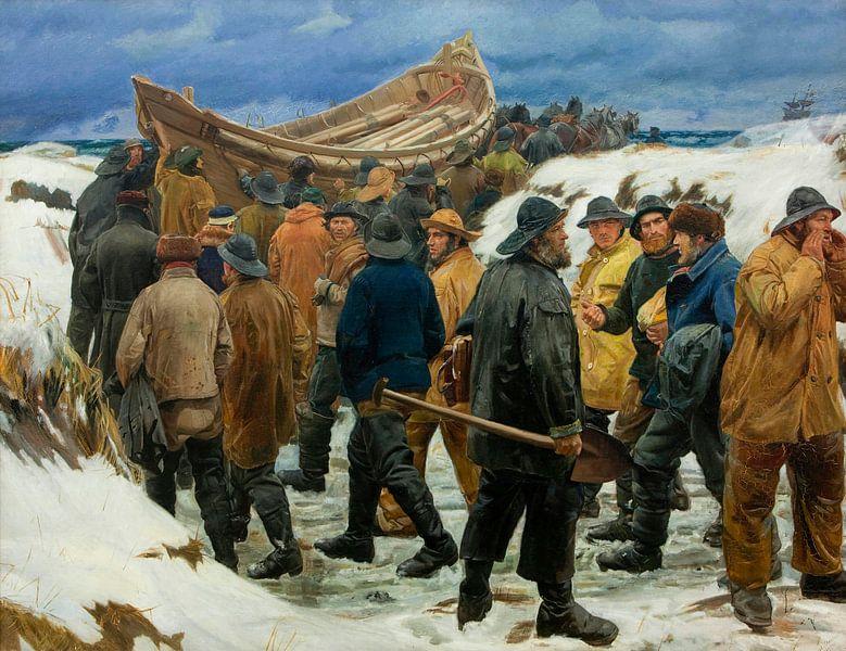 Das Rettungsboot wird durch die Dünen gebracht, Michael Ancher von Meesterlijcke Meesters