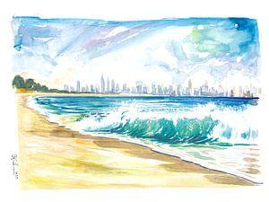 New Jersey Strand Ansicht mit brechenden Wellen und Manhattan Skyline von Markus Bleichner
