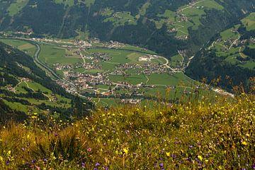 Uitzicht op het Zillertal. van