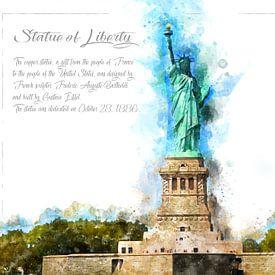 Statue de la Liberté, aquarelle, New York sur Theodor Decker