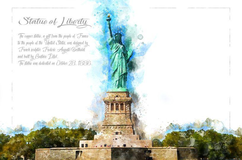 Freiheits-Statue, Aquarell, New York von Theodor Decker