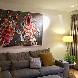 Kundenfoto: Gesang-Giraffen von Vrolijk Schilderij, auf leinwand