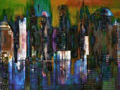 5a. Stedelijke landschap, Manhattan, NY.  (kleur) van Alies werk