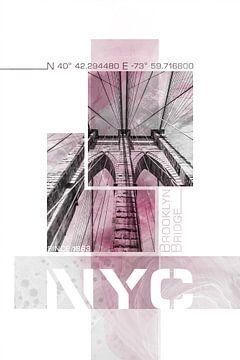NYC Brooklyn Bridge im Detail | Marmor pink von Melanie Viola