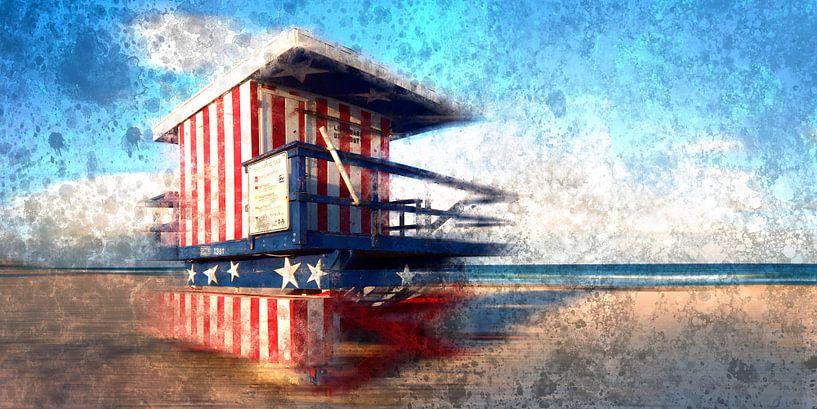Digital-Art Miami Beach Watchtower van Melanie Viola