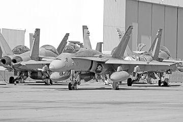 Rijtje McDonnell Douglas F-18 Hornets des amerikanischen Marine Corps schwarz-weiß von Ramon Berk