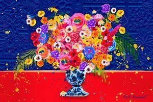 Blumen in Blau und Rot