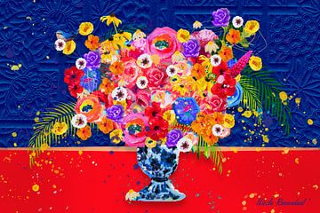 Bloemen schilderij blauw en rood van Nicole Roozendaal