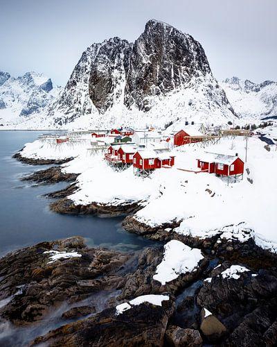 Het uitzicht van Hamnøy van